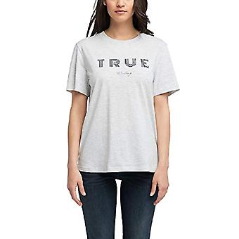 MUSTANG Alina C Print T-Shirt, Grey (Light Grey Melange 4141), Large Woman