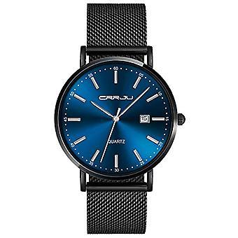 SUPBRO Ultra thin black men's watches classic quartz minimalists with black mesh strap