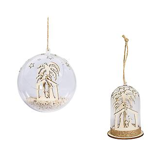 Miniature Christmas Nativity Scene Open Front Bauble and Bell Jar Craft Kit