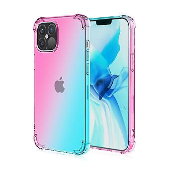 Soft tpu case for iphone 12/12 pro shockproof gradient pink&green