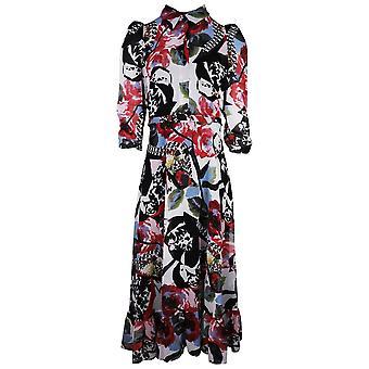 Arggido Multi-coloured Print 3/4 Sleeve Shirt Style Maxi Dress