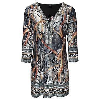 K-design Beaded V Neck Long Sleeve Dress