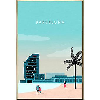 JUNIQE Print - Barcelona - Barcelona Poster in Turquoise