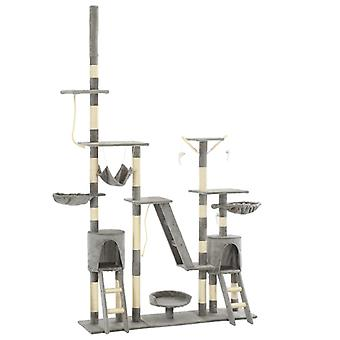 vidaXL Cat Scratch Tree with Sisal Scratch Columns 230 - 250 cm Grey