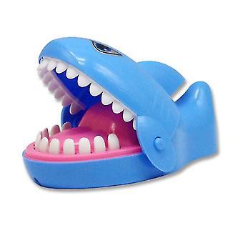 Blauw ouder-kind spelspeelgoed, de haai van kinderen verlicht drukspeelgoed, drukt tanden en bijtvingersspeelgoed az19006