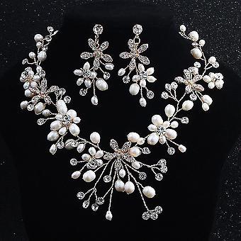 Jewelry Set Bridal Handmade Pearl Women Necklace Earrings For Wedding