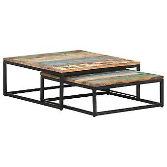 vidaXL tables de set 2 pcs. Bois massif recyclé