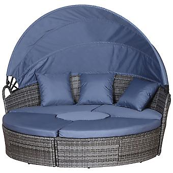 Outsunny Rattan Garden Furniture Cushioned Wicker Round Sofa Bed with Coffee Table  Patio Conversation Furniture Set - Grey