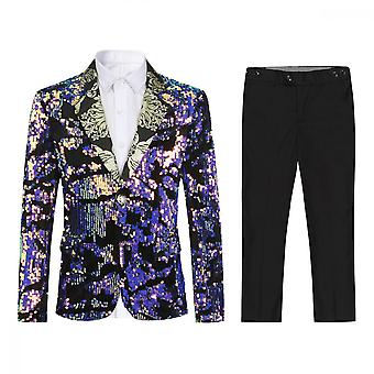 Homemiyn Boy's Two-piece Casual Suit Pink Sequins One Buckle Suit Dress For Party Speech Performance Wedding