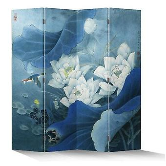 Feine asiatisch wohnende chinesische orientalische Raumteiler Faltend sichtschutz 4 Panel Lotuspond Vogel Blau L160xH180cm