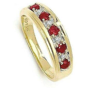 (N) Ruby and Diamond Ring Eternity Yellow Gold Band Certificate Size J-Q