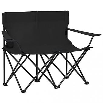 Chunhelife 2-seater Foldable Camping Chair Steel And Fabric Black