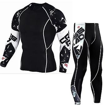 Hombres Running Sport Camiseta Pantalones / trajes Jogging Tracksuit Sets Gym Training