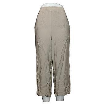 WynneLayers by MarlaWynne Women's Pants Straight Cropped Crepe Beige 655112