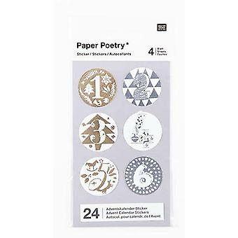 Advent stickers 1 -24 Silver and gold Foil Xmas Advent Calendar Craft