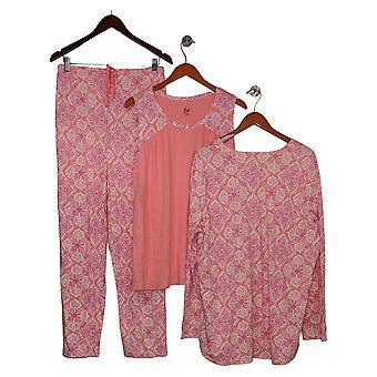 Aria Women's Set Reg 3-Piece Tank, Cardigan, and Pants Pink 637165