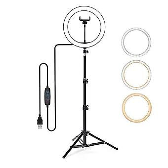 Selfie Flash Dimmable LED Ring Light With Tripod Stand Phone Holder & Carry Bag