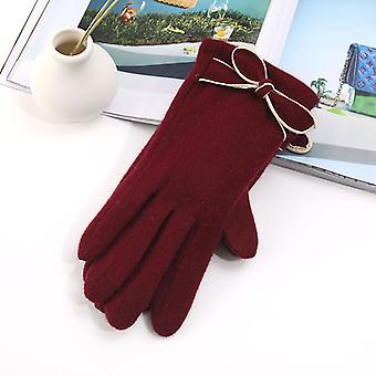 Women's Elegant Bowknot Autumn And Winter Outdoor Cold Warm With Fleece Design Fingertip Gloves
