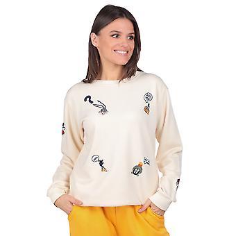 tegneserie karakter brodert ecru kvinners genser