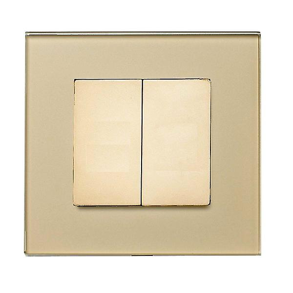 I LumoS Luxury Gold Full Glass Screwless Blanking Plate Wall Single Socket