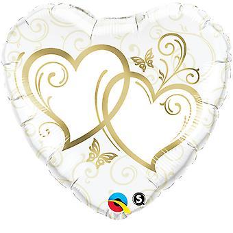 Qualatex 18 tums hjärtformade bröllop folie ballong