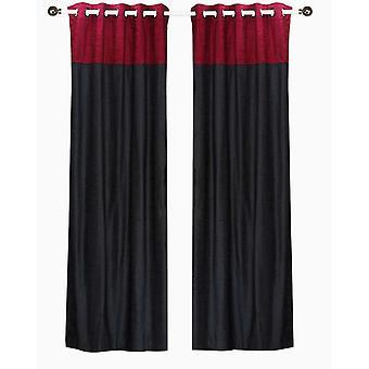 Firma negro y Borgoña terciopelo superior Panel de cortina - pedazo del anillo