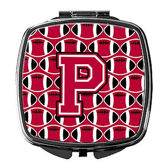 Letter P Football Crimson and White Compact Mirror