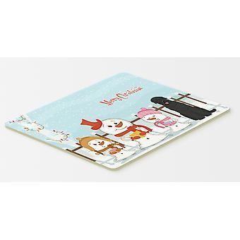 メリー クリスマス Carolers ブラック ・ ロシアン ・ テリア キッチンやお風呂マット 20 x 30