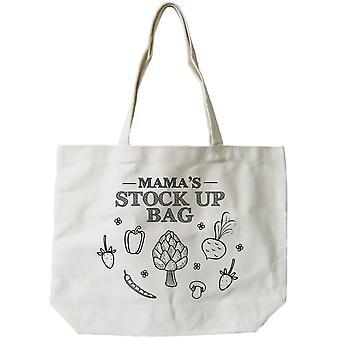 Mamas lager upp Bag Women's 100% bomull duk Tote Bag, återanvändbara Eco-väska