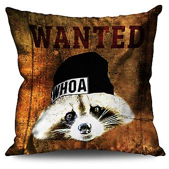 Wanted Beast Cute Linen Cushion 30cm x 30cm | Wellcoda