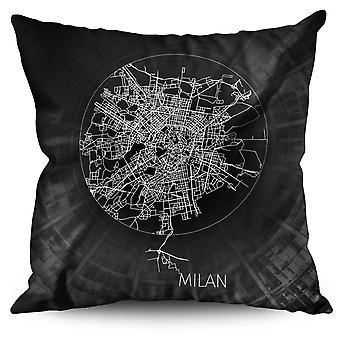 Milan Map Linen Cushion 30cm x 30cm | Wellcoda