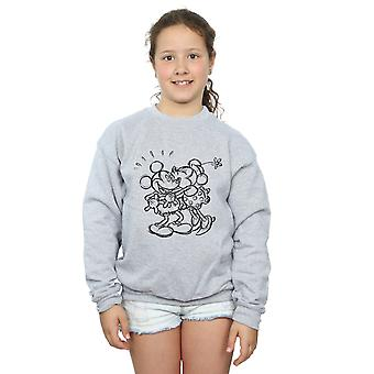 Ragazze Disney Topolino e Minnie Mouse bacio schizzo Sweatshirt