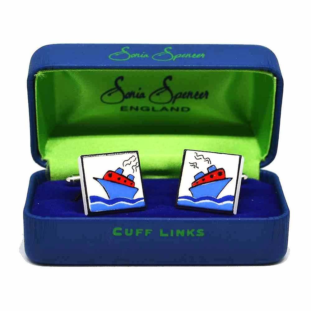 Red Cruise Ship Cufflinks by Sonia Spencer, in Presentation Gift Box. Boat, Cruise Liner