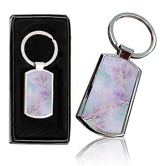 i-Tronixs - Premium Marble Design Chrome Metal Keyring with Free Gift Box (1-Pack) - 0038