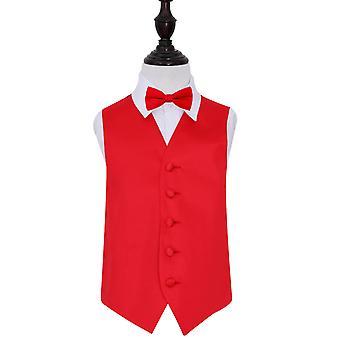 Red Plain satijn bruiloft gilet & strikje Set voor jongens