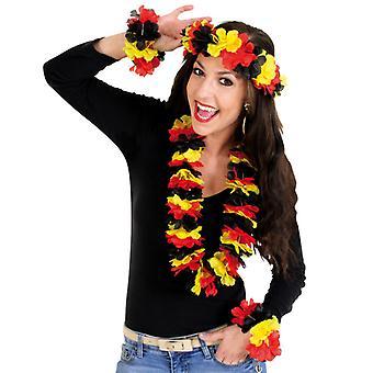 Ventilatore 4-PC set hawaiano. Collana di fiori di Germania di Coppa del mondo