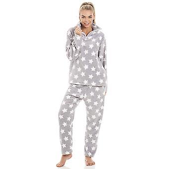 Camille grau Supersoft Velours Fleece-weiße Sterne Print-Pyjama-Set