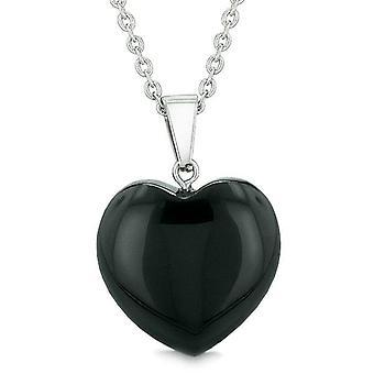 Chanceux Puffy charme Crystal noir Agate Pierre gemme pouvoirs spirituels amulette Collier pendentif coeur