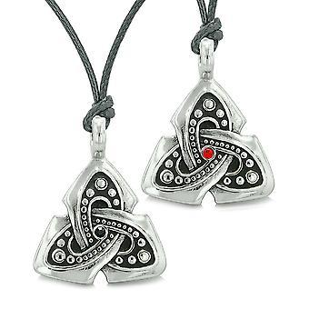 Ancient Viking Celtic Triquetra Knot Amulets Love Couples Best Friends Set Black Red Necklaces