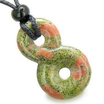 Infinity Magic Powers Knot Lucky Charm Spiritual Protection Amulet Unakite Pendant Necklace