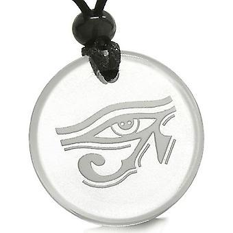 Amulett alle sehende Auge des Horus ägyptische Magie Schutz Kräfte Quarz Medaillon Anhänger Halskette