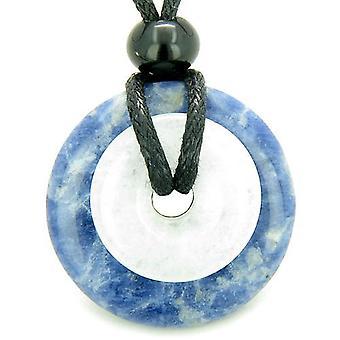 Dubbel geluk Amulet magische Donuts sodaliet witte Jade bescherming geluk hanger ketting