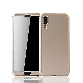 Huawei P20 Handy-Hülle Schutz-Case Full-Cover Panzer Schutz Glas Gold