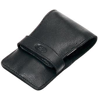 Bolso de la caja manicura caso nappa cuero negro 4 piezas de manicura