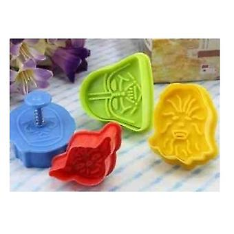 4 PC Star Wars Cookie Cutters stempler for CakeDecorationFondantBakewareMouldMoldbaking