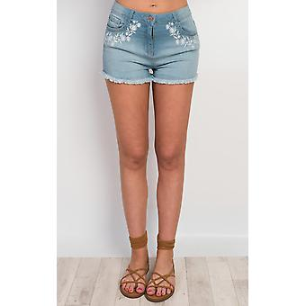 IKRUSH Womens Pacey Embroidered Denim Shorts