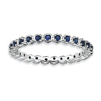 925 Sterling Silver Polished Prong set Patterned Rhodium plated Stackable Expressions Created Sapphire Ring Jewelry Gift
