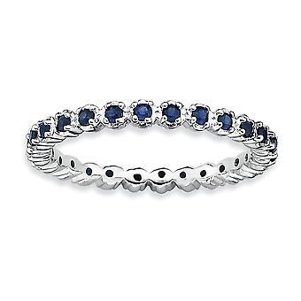 925 sterling silver polerad stift set mönstrad rodium-pläterad stapelbara uttryck skapade safir Ring-Ring storlek: