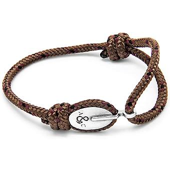 Anchor and Crew London Silver and Rope Bracelet - Brown