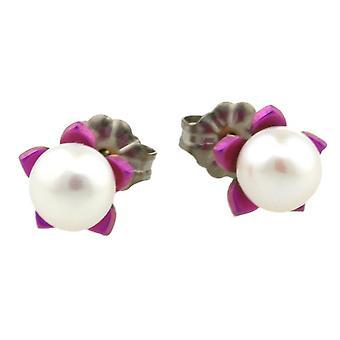 Ti2 titaani pieni kukka ja helmi korvakorut - Candy Pink